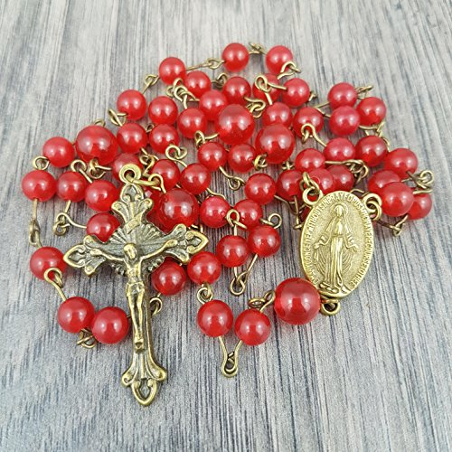Red Gemstone Rosary with Mary centrepiece, includes Gift Box