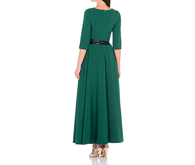 Collocation-Online Solid Color Half Sleeve Thin Long Dress Casual Russian Vestidos, as Picture, L at Amazon Womens Clothing store: