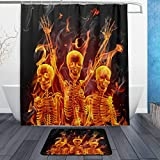 Yomyceo Modern Flame Sugar Skulls Day of the Dead Halloween Decor Waterproof Polyester Fabric Shower Curtain (72'' x 72'') Set with 12 Hooks (Bath Mats Rugs not Included)