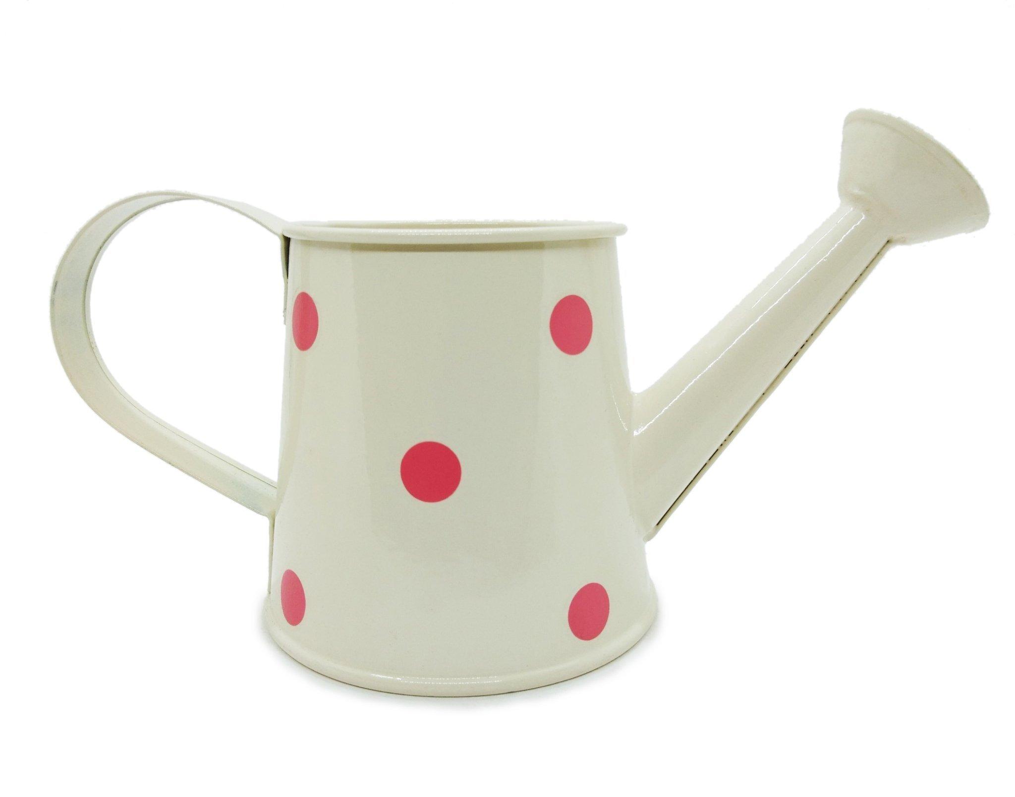 WitnyStore Watering Can Polka Dot Vintage Pot Garden Decor Miniature Sprinkler Nozzle Flower Arrangement (White)