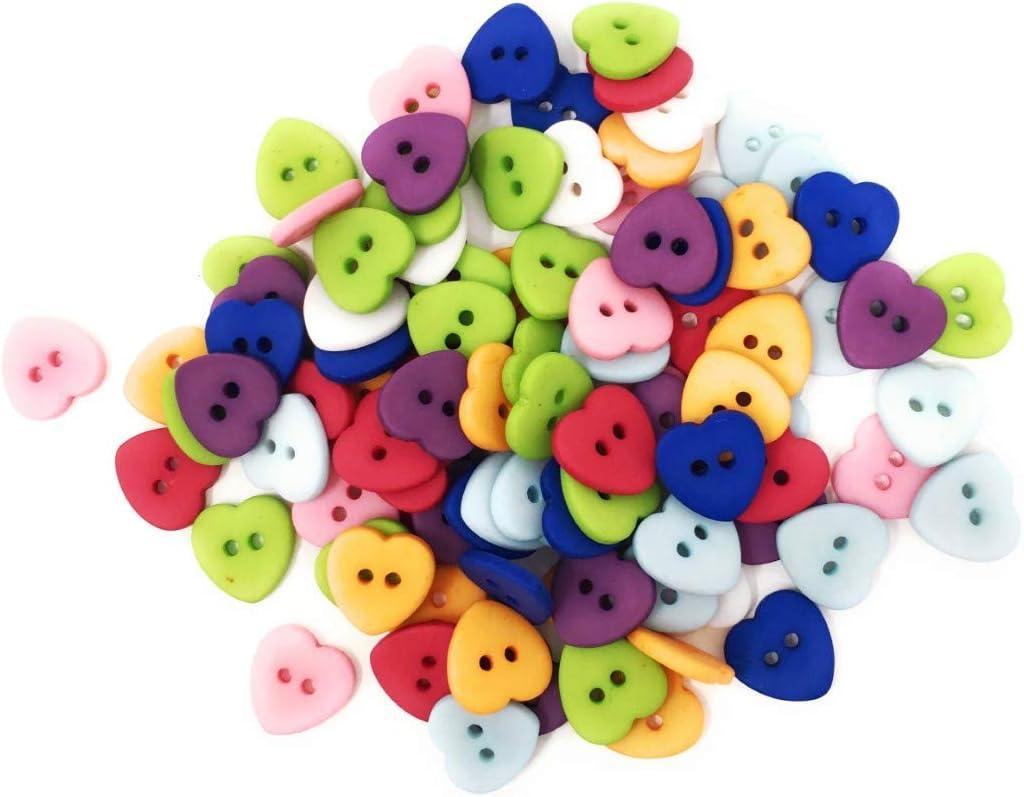 in Resina Satinata Bottoni a Forma di Cuore Colori Misti Lotto da 25 12 mm 2 Fori Tricot Cr/éations