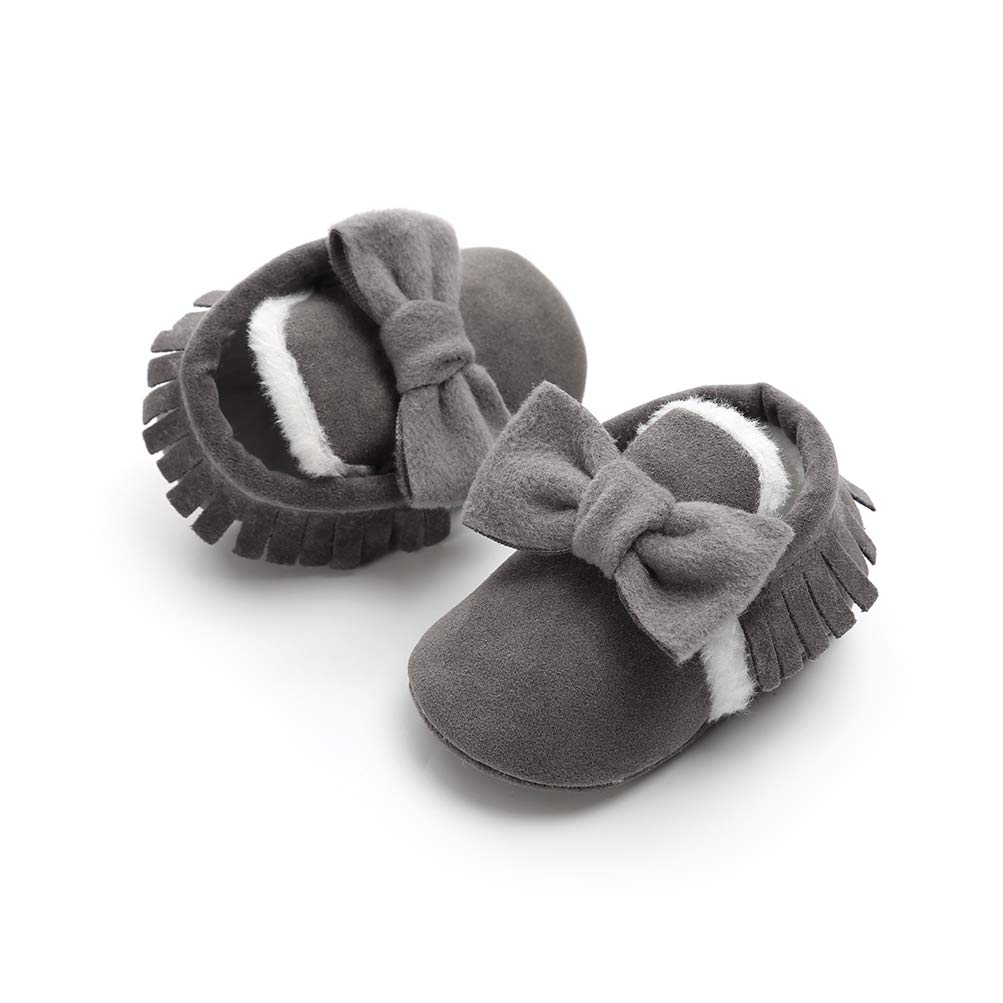 Winter Fleece Shoes Baby Girls Bowknot Tassel First Walking Shoes Antiskid Soft Sole Princess Shoes