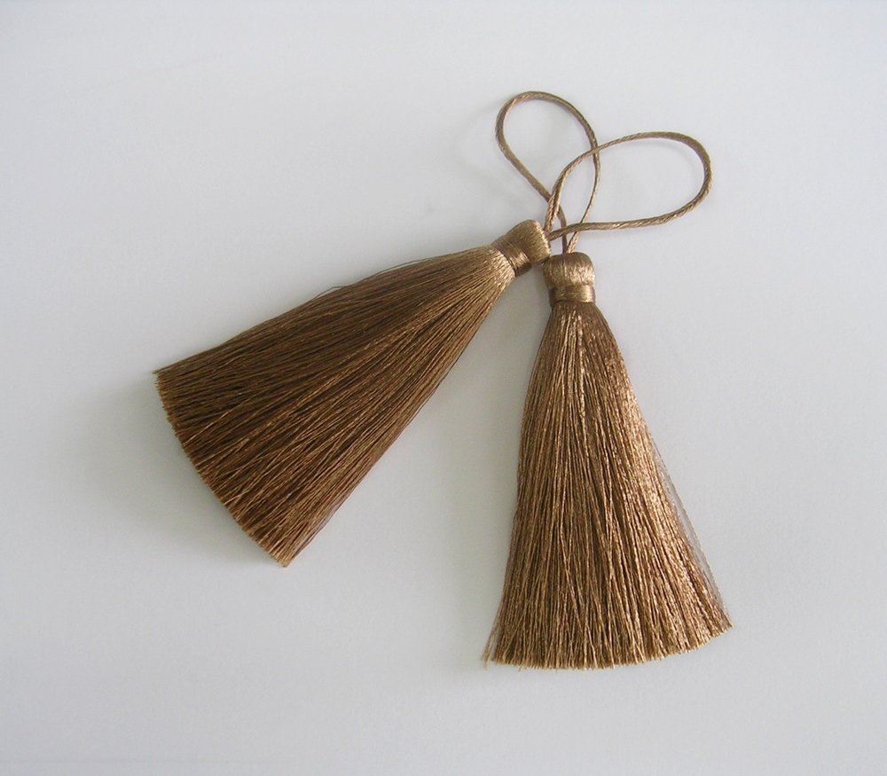 Brown Bronze Long Tassel Silk Dangle Trim DIY Jewelry Making Craft Drapery Sewing Embellishments 2 Pieces DIYcraft