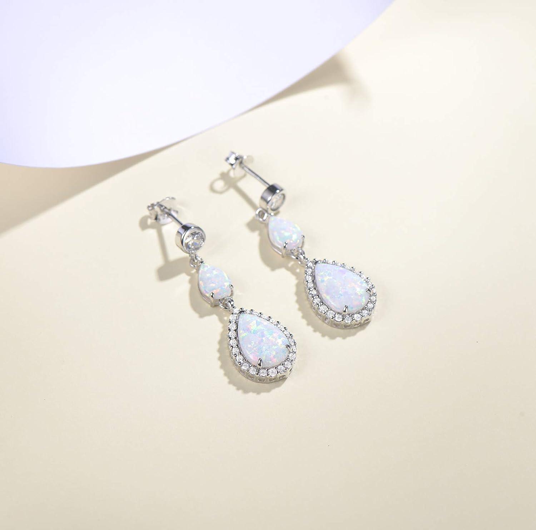 FANCIME Created Opal Dangle Earrings Sterling Silver 2 Stones White Fire Opal Halo Cubic Zirconia Water drop Pear shape Teardrop Hook Earrings Jewelry for Women Girls