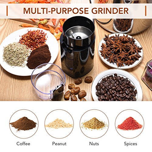 Electric Coffee Grinder, Atmoko Conical Burr Grinder and Spice Grinder with Multi-functional Stainless-Steel Blades, Removable Transparent Cover, Cord Storage, Brush, Portable Coffee Mill, Black by Atmoko (Image #1)