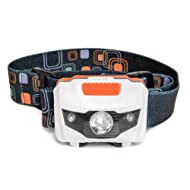 LED Headlamp Flashlight - Great for Camping, Hiking, Dog Walking, Kids. One of The Lightest (2.6 oz) White Cree Headlight. Water & Shock Resistant + Red Strobe. 3 Duracell Batteries Included.