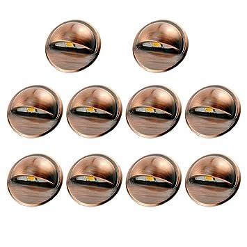 Top 10er Set LED Treppen Einbauleuchten Kupfer IP65 Wasserdicht Außen  YR25