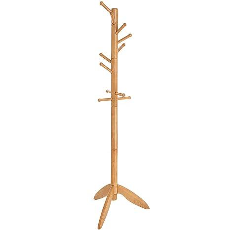 Amazon.com: VASAGLE - Perchero de madera, 11 ganchos, para ...