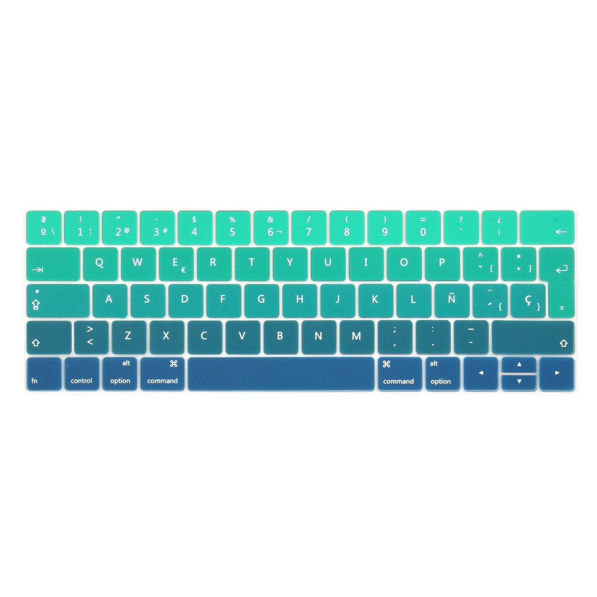 TwoL española Cubierta del Teclado/Keyboard Cover para MacBook Pro 13 15 2016 2017 2018 con Touch Bar A1706 A1707 A1989 A1990 Silicone Skin (Gris Gradual) Pro-13-15