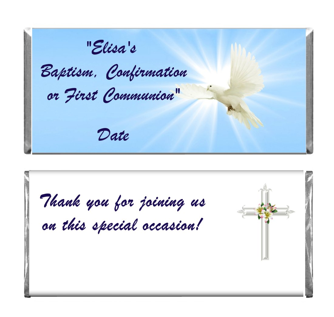 Personalized Custom Blue Dove Baptism, Confirmation or 1st Communion Religious Chocolate Candy Bar Wrappers & Foils Set of 36