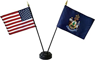 product image for 4x6 E-Gloss Maine Stick Flag w/U.S. Stick Flag & 2 Flag Plastic Table Base - Qty 6