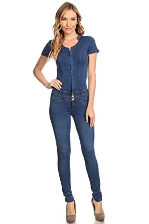 511957855e25 Amazon.com  Clash Jeans Blue Denim Jumpsuit Romper Catsuit Fitting Juniors  Stretch Short Sleeves S M L XL  Clothing