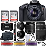 Canon EOS Rebel T6 DSLR Camera + EF-S 18-55mm f/3.5-5.6 IS II Lens + EF 75-300mm f/4-5.6 III Lens + Wide Angle & Telephoto + 64GB SD Card + Canon 100ES Bag + Tripod + Memory Card Holder (24 Slots)