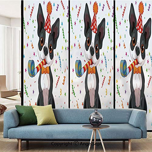AngelSept No Glue Static Cling Glass Sticker,Black and White Boston Terrier with Colorful Party Backdrop,W15.7xL63in,for Home Office,Multicolor]()