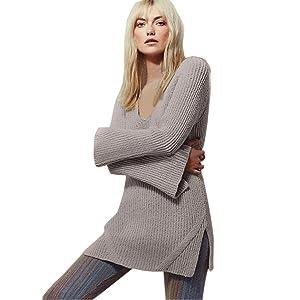 Women Sweater,Saingace Sexy Deep V-neck Long-sleeved Backless Knitwear (M, Beige)