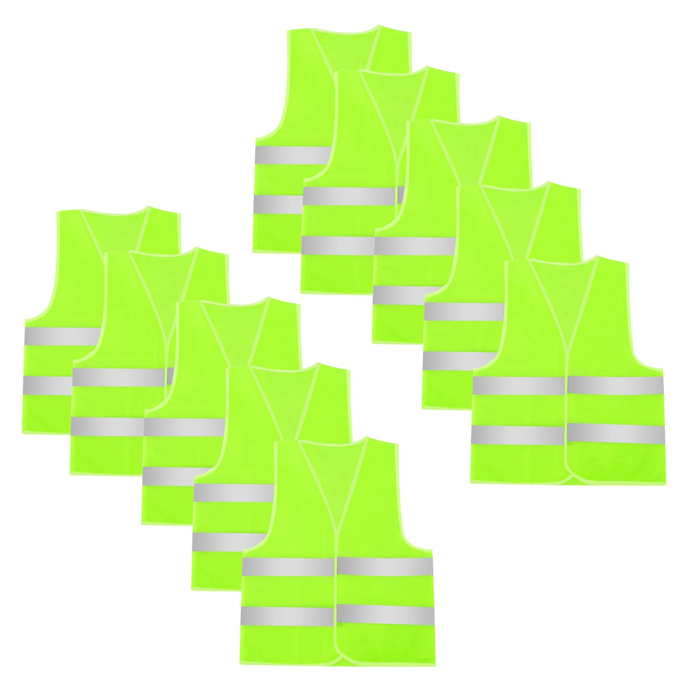 AEIOE 10 Pack Reflective Safety Vest High Visibility for Construction Work (Yellow-10 Pack)