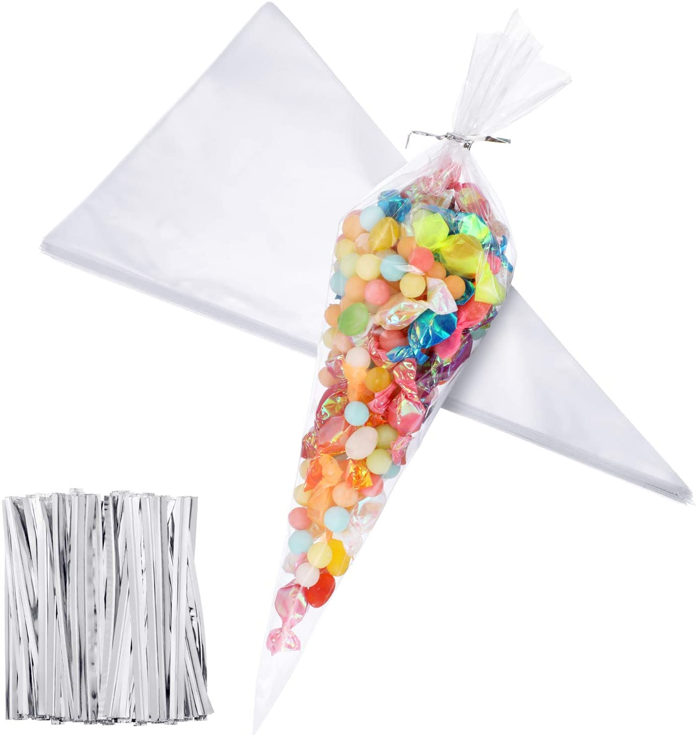 100 Pieces Easter Medium Transparent Cone Bags Cello Bags Sweet Clear Treat Bags with 100 Pieces Twist Ties, 11.8 by 6.3 Inch (Silver Twist Ties)