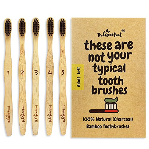 Natural Bamboo Charcoal Toothbrush for Adults W/BPA Free Nylon Bristles, Individually Numbered Pack of 5, Organic & Compostable Toothbrushes, Plastic Free Packaging