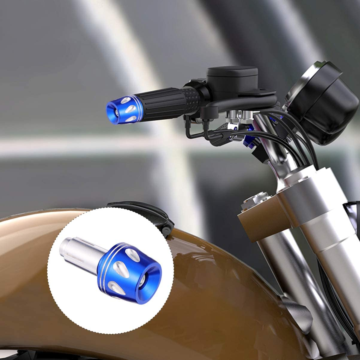 Wakauto 2pcs Motorcycle Handlebar Plugs End Caps Motorbike Bar Handlebar Grips Plugs End Slider Plug Caps Motorcycle Accessories Black
