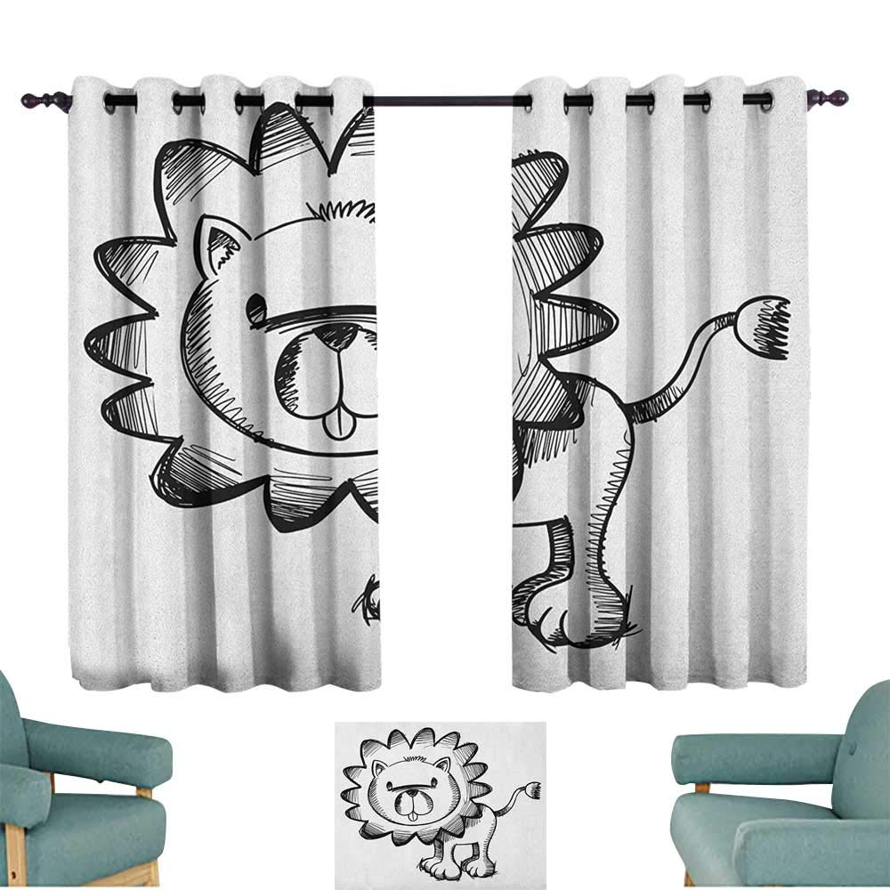 Doodle,Drapes Girls Sketchy Baby Lion African Wildlife Character Safari Jungle Savanna Habitat Theme 100''x72'' Children Nursey Room Art Print