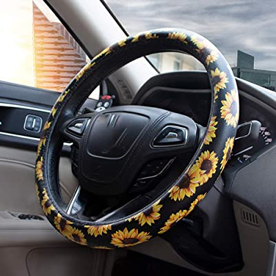 Forala Car Steering Wheel Cover Microfiber Leather Universal Fit for 15 Inch Floral Print for Women: Automotive
