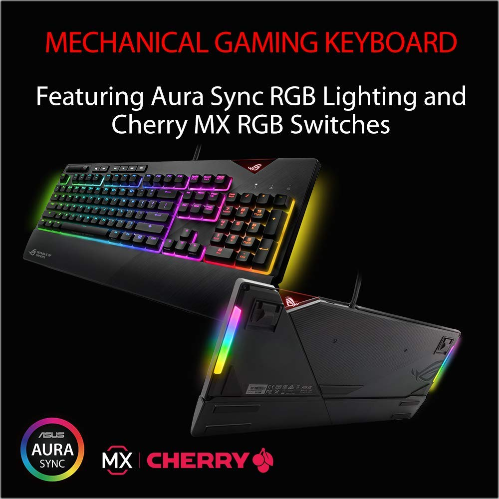 ASUS ROG Strix Flare RGB Mechanical Gaming Keyboard Cherry MX Red with USB  Pass Through, Underglow and Aura Sync