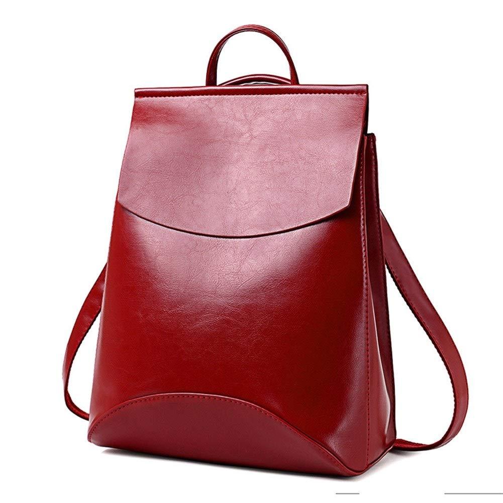 ZYSTMCQZ PU vattentät mode läderväskor för tonårsflickor kvinnor ryggsäck kvinnlig skola axelväska väska (färg: Djup rosa) Röd