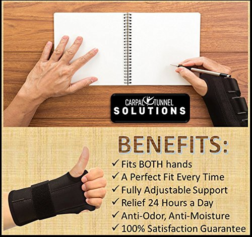 Carpal Tunnel Solutions Daytime Wrist Brace - RELIEF For Carpal Tunnel, RSI, Cubital Tunnel, Tendonitis, Arthritis, Wrist Sprains. Support Recovery & Feel Better NOW. (1 Brace Fits Both Hands) by Carpal Tunnel Wrist Brace (Image #5)