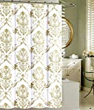 Tahari Home Fabric Shower Curtain Chinoisserie Damask Paisley Scroll Medallion Taupe, Beige on White 72 x 72'
