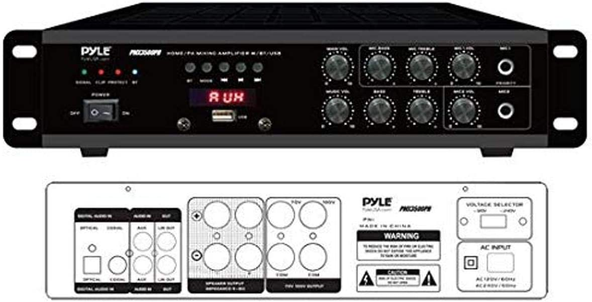Bluetooth Home PA Mixing Amplifier - 500W Home Audio Rack Mount Stereo Power Amplifier Receiver w/FM Radio, Digital LED Display, USB/AUX/Mic, Optical/Coaxial, AC-3, 70V/100V Output - Pyle PMX3500PH