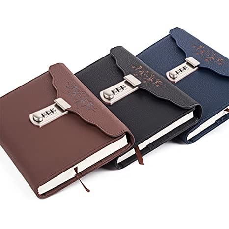 4 Color Choose Business Leather Diaries Journal Secret Diary With Lock Notebook