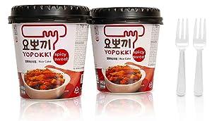 Tteokbokki Korean Rice Cake Instant (Cup of 2, Spicy & Sweet Sauce) Korean Snack Tteok Tteokbokki Rice Cake ???