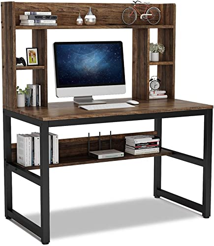 Tribesigns Computer Desk with Hutch, Modern Writing Desk with Storage Shelves, Office Desk Study Table Gaming Desk Workstation for Home Office, Vintage Black Legs