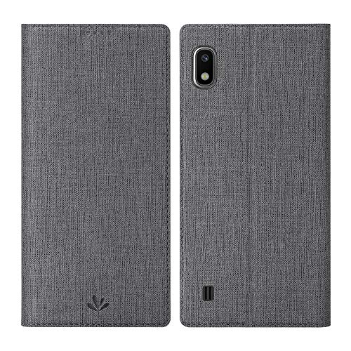 DDJ Samsung Galaxy A10 Case Cover,Soft TPU&PU Leather Flip Case with Kickstand,Multi-Function Wallet Slot Shockproof Protective Phone Case for Galaxy Samsung A10 (Gray)