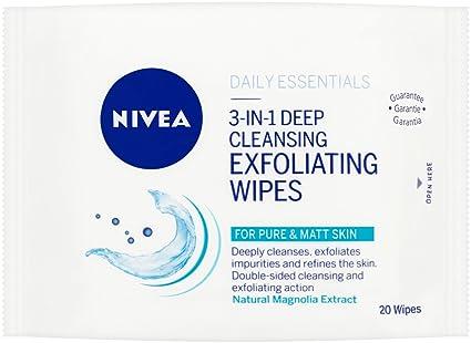 Nivea Daily Essentials 3 en 1 limpieza profunda exfoliar toallitas, pack de 6, Total