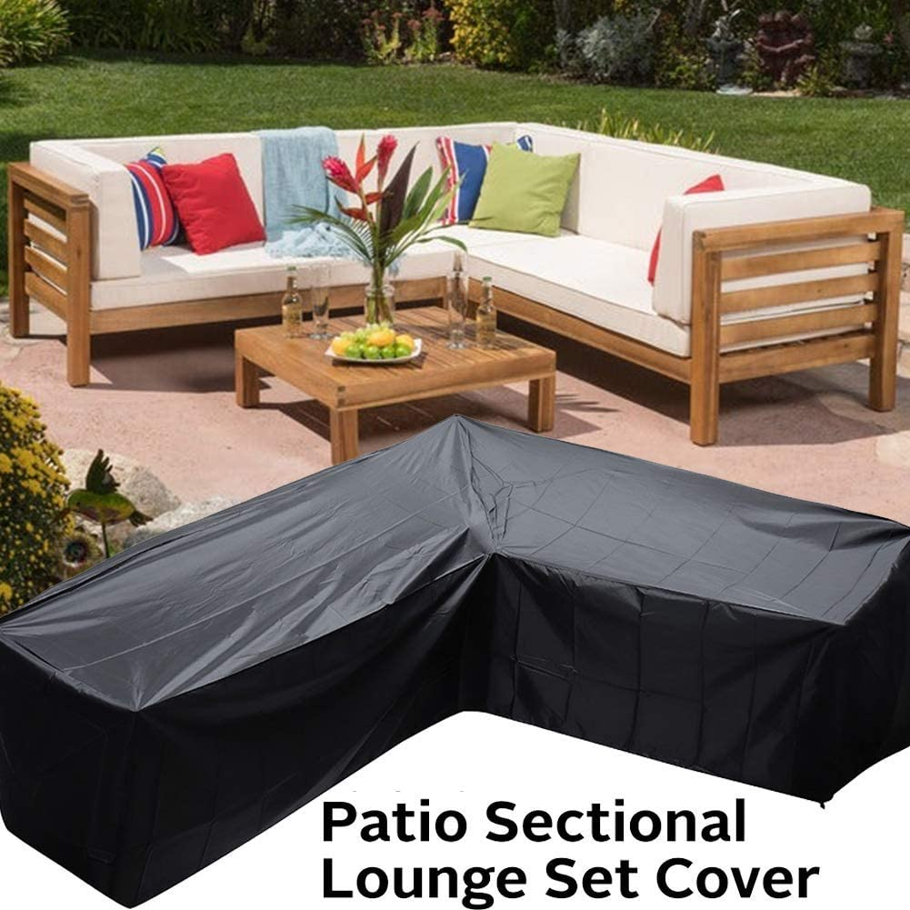 L Shape Left Facing 105 Waterproof Garden Couch Cover Patio L Shaped Sectional Sofa Cover Patio Furniture Sectional Couch Covers Outdoor Sectional Furniture Set Cover Patio Sofa Cover 270cm Sofa Covers Patio Lawn Garden
