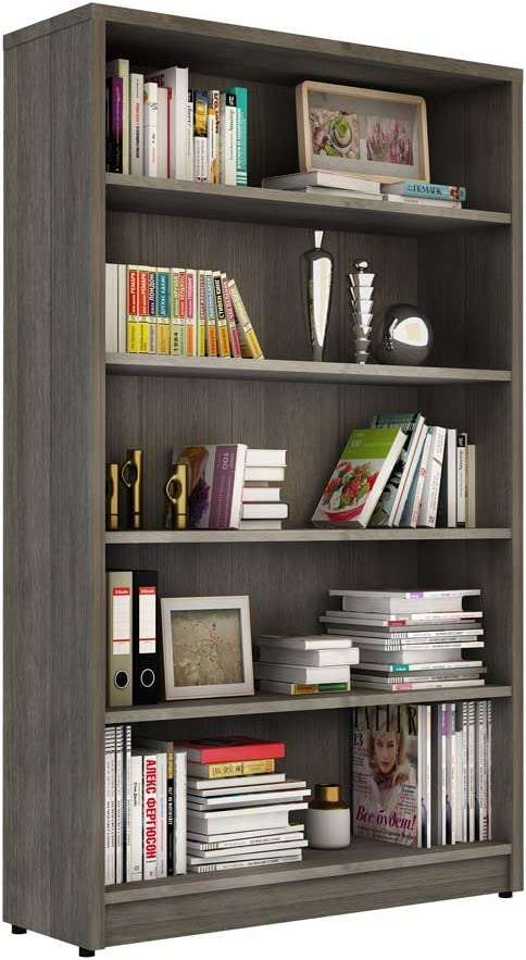 Sunon Collection Wood Bookcase Freestanding Display Shelf for Home and Office (5-Shelf, Grey)