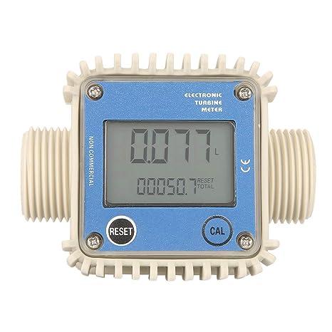 Fuel Flow Meter, K24 LCD Turbine Digital Diesel Fuel Flow Meter Gas Oil Fuel Flow Meter Pump Flow Meter Mechanical Meter Widely Used for Chemicals Water: ...