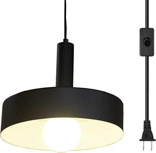 Ganeed Plug in Pendant Lights,Industrial Vintage Hanging Lamp, Swag Lighting,Island Kitchen Farmhouse Chandelier Light Fixtures with 16.4ft Cord On Off Switch,Matte Black