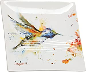 Dean Crouser Hummingbird Watercolor Blue On White 7 x 7 Glossy Stoneware Snack Plate