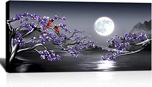 KLVOS Purple Canvas Wall Art Cherry Blossom and Cardinal