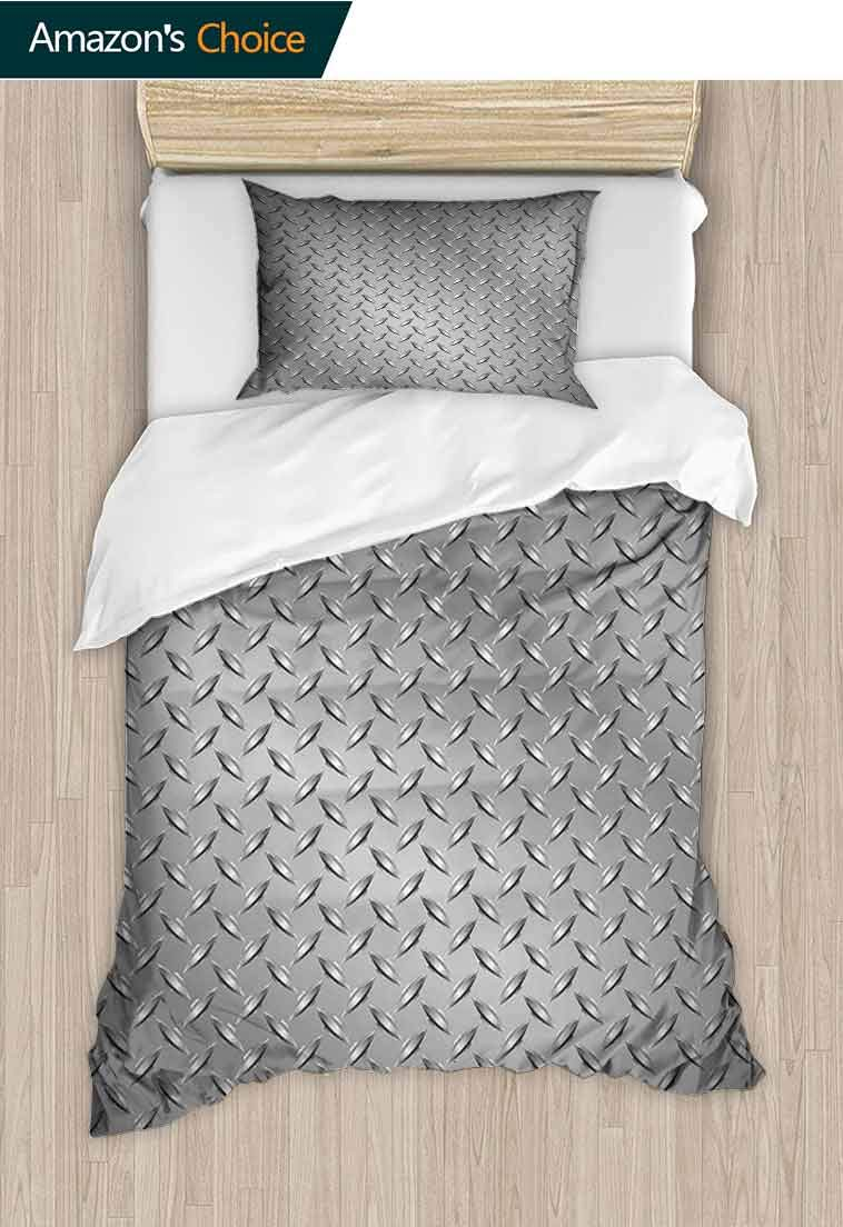 Grey DIY Duvet Cover and Pillowcase Set, Wire Fence Design Netting Display with Diamond Plate Effects Chrome Kitsch Motif Print, Decorative 2 Piece Bedding Set with 1 Pillow Sham, 79 W x 90 L Inches by carmaxshome