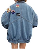 Harajuku Denim Jackets Coat Women Patch Designs Long Sleeve Bomber Jacket Casual Loose