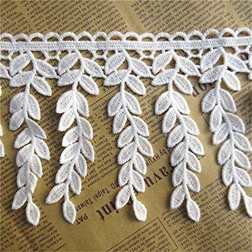 1 Meter Leaf Cotton Crochet Fringe Lace Edge Trim Ribbon 11.5 cm Width Vintage White Trimmings Fabric Embroidered Applique DIY Sewing Craft Wedding Bridal Dress Embellishments Party Clothes Decoration