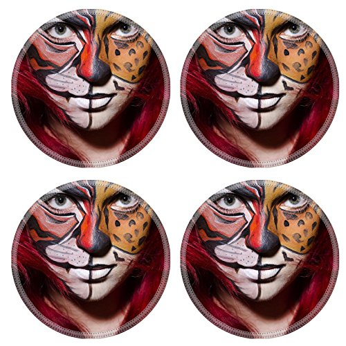 [MSD Round Coasters IMAGE 26880399 Woman with face painting in dark room] (Face Painting For Lion Costume)