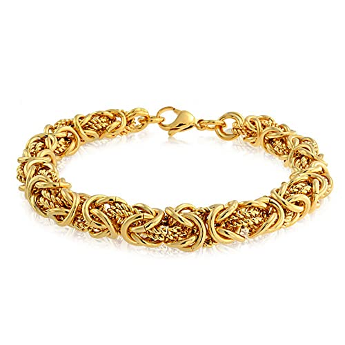 Bling Jewelry Byzantine Chain Mechanic Link Mens Bracelet for Men Gold  Plated Stainless Steel Heavy