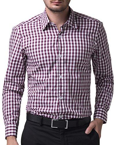 Paul Jones®Men's Shirt Slim Fit Dress Shirts for Men Casual Purple Plaid (L) KL-5 CL6299