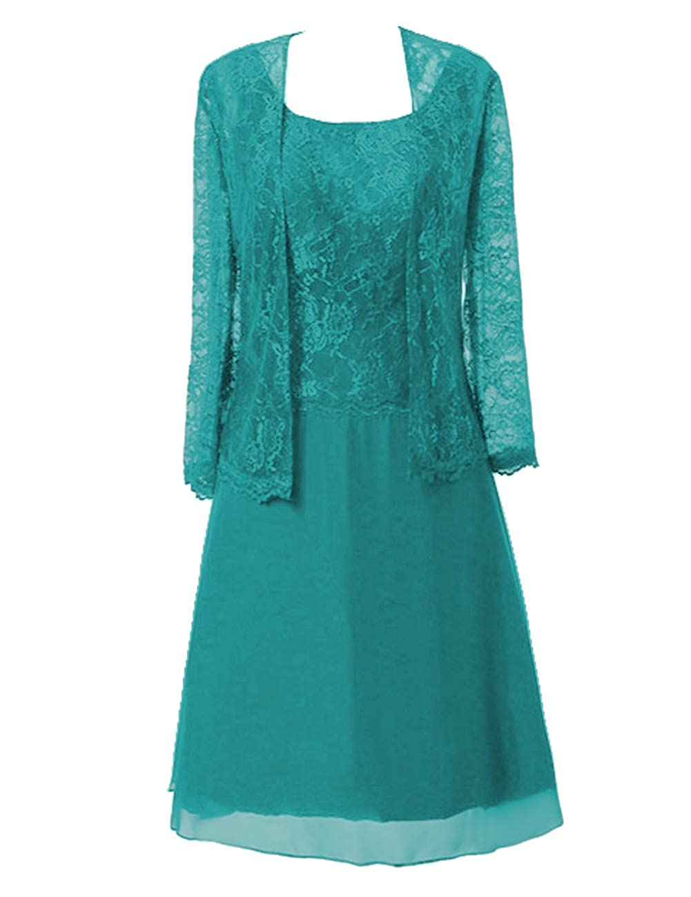 Dark Turquoise Mother of The Bride Dresses Knee Length for Wedding Plus Size Mother Dresses for Women Special Occasion with Jacket