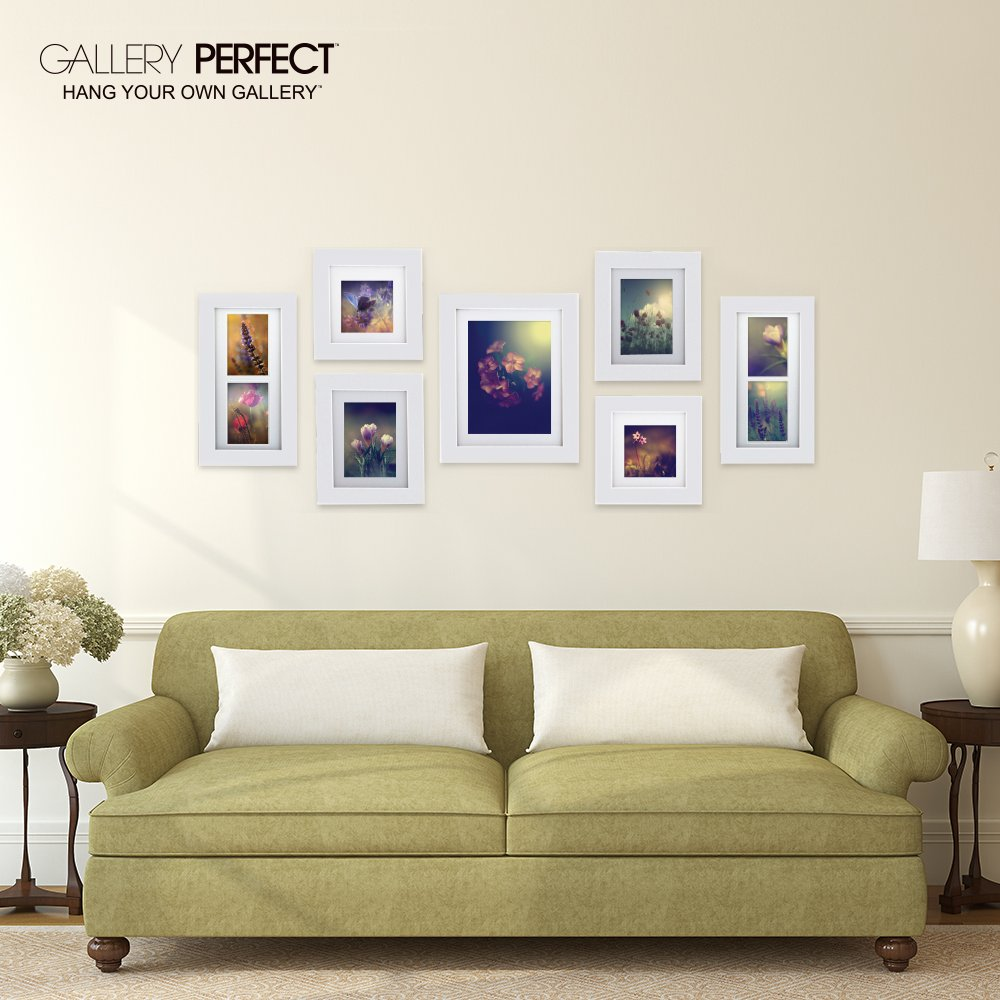 Amazon.com: Gallery Perfect 7 Piece White Wood Photo Frame Wall ...