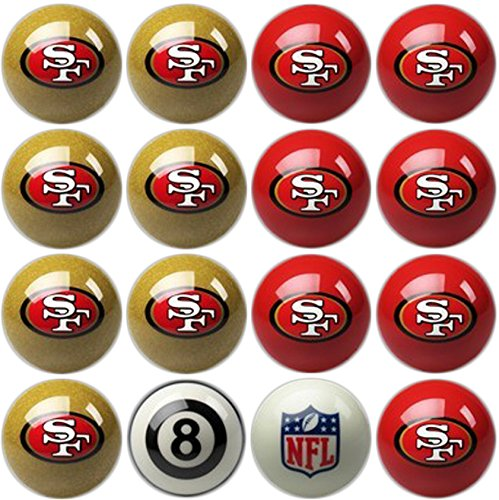 Imperial Officially Licensed NFL Merchandise: Home vs. Away Billiard/Pool Balls, Complete 16 Ball Set, San Francisco 49ers